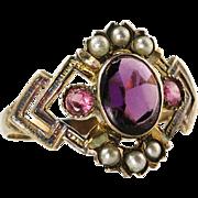 Antique Victorian 14K Gold .60ct Amethyst Rhodolite Garnet & Seed Pearl Ring