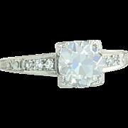 Vintage Antique Estate GIA Certified 1.46ct Genuine K VVS2 Diamond Platinum Art Deco Engagement Ring