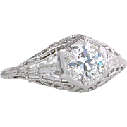 Vintage Antique GIA Certified .60ct J VVS2 Diamond 18K Gold Deco Engagement Ring
