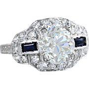 Vintage EGL Certified 2.51ct Diamond & Sapphire Platinum Deco Engagement Ring ~ EGL Certified 2.01ct European Cut Center Diamond