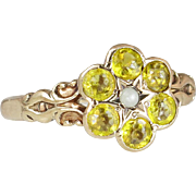 Antique Estate 10K Yellow Gold .90ct Citrine & Seed Pearl Victorian Ring