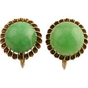 Antique Victorian 10 Karat Gold 6.50ct Cabochon Jade Screw Back Non Pierced Earrings 3.9g