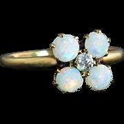 Antique Estate 14k Yellow Gold 1.15ct Genuine G VS1 Diamond & Opal Victorian Ring