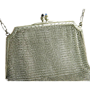 Art Deco Vintage Sapphire & 925 Sterling Silver Mesh Antique Purse / Handbag Circa 1920's