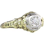 Vintage .20ct Genuine Diamond 14K Two Tone Gold Art Deco Engagement Ring ~ 2 Deep Hand cut Flowers & Filigree