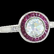 Antique 18K White Gold 2.04ct Genuine Diamond & Ruby Art Deco Ring 3.8g