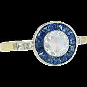 Antique 18K Two Tone Gold 1.34ct Genuine Diamond & Sapphire Art Deco Ring 2.6g