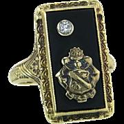 Antique Vintage Estate 14K Yellow Gold Genuine Diamond & Onyx Art Deco Coat of Arms Ring