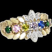 Vintage Estate 14K Two Tone Gold .76ct Diamonds & Multi Gemstone Mothers Ring