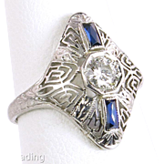 Estate Vintage Art Deco 18K Gold .26ct Genuine Diamond & Sapphire Filigree Engagement Wedding Ring