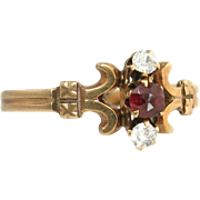 Antique Estate Vintage 10K Rose Gold .25ct Genuine Diamond & Ruby Victorian Ring 1.3g Circa 1890's