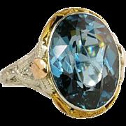 Estate Vintage Art Deco 14K White Yellow & Rose Gold 9.25ct Blue Topaz Filigree Ring