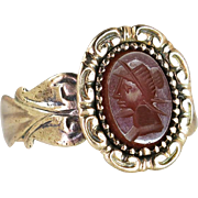 Victorian Estate Antique 10K Yellow Gold Hand Carved Carnelian Cameo Ring 3.6
