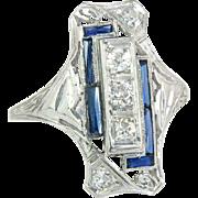 Antique 18K White Gold .50ct Genuine Diamond & Blue Sapphire Art Deco Ring 3.2g