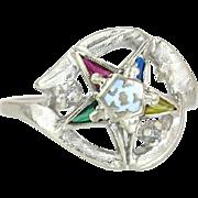 Estate Vintage 10K Gold Genuine Diamond Order of Eastern Star Masonic Ring 3.7g