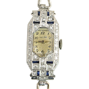 Vintage Longines Ladies Wrist Watch Platinum .75ct Diamond & Sapphire