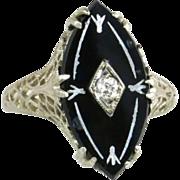 Antique Vintage Estate Filigree 14K White Gold Black Onyx & Genuine Diamond Art Deco Ring