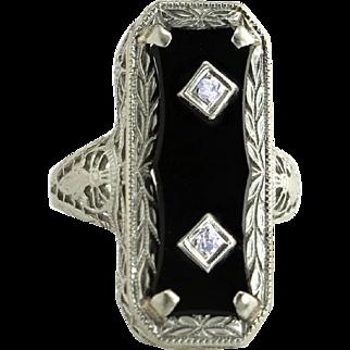 Antique Art Deco Vintage Estate Filigree 14K White Gold .04ct Genuine Diamond & Onyx Ring