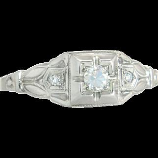 Antique Estate Art Deco .12ct Genuine Diamond 18K White Gold Ring 2.1g