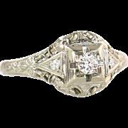 Estate Vintage Art Deco .14ct Genuine Diamond 18K White Gold Filigree Engagement Ring