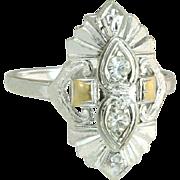 Art Deco Estate Two Tone 14K Yellow & White Gold .10ct Genuine Diamond Ring