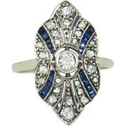 Antique Vintage Estate 18K Gold Platinum .50ct Genuine Diamond & Sapphire Victorian Ring