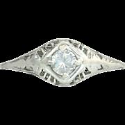 Antique Vintage Estate .22ct Genuine Diamond 18K White Gold Art Deco Engagement Ring