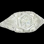 Vintage .31ct Old Mine Cut Diamond 18K Gold Flower Art Deco Engagement Ring 2.4g