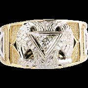 Estate Vintage Art Deco 14K Gold Genuine Diamond Scottish Rite Double Headed Eagle Masonic Men's Ring