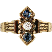 Antique Victorian 14K Gold .34ct Genuine Diamond & Sapphire Ring Band