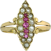 Antique Estate 14K Yellow Gold .10ct Ruby & Seed Pearl Victorian Ring