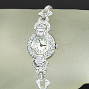 Vintage Ladies Wrist Watch Platinum 2.00ct Genuine Diamond Quartz Movement