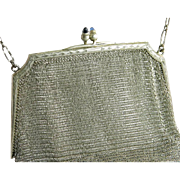 Estate Art Deco Sapphire & 925 Sterling Silver Mesh Antique Purse / Handbag Circa 1920's
