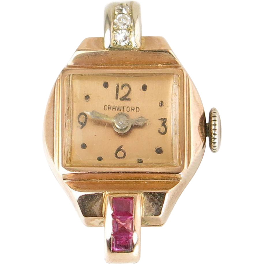 crawford ladies watch genuine diamond ruby 14k rose gold