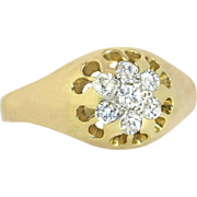 Antique Estate 10K Yellow Gold 3/4ct Genuine Diamond Art Deco Men's Ring 4.4g