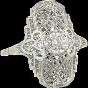 Estate .10ct Genuine Diamond 14K White Gold Filigree Art Deco Ring 3.2g