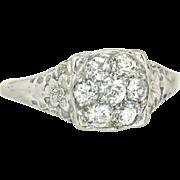 Antique .50ct Genuine Diamond 18K White Gold Flowers Art Deco Engagement Ring