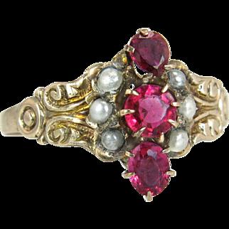 Antique Estate Vintage 14K Gold .60ct Garnet & Seed Pearl Victorian Ring 1.5g