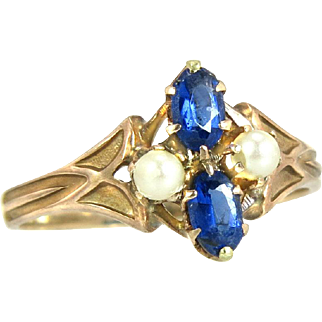 Antique Vintage Estate 10K Yellow Gold .50ct Blue Sapphire & Pearl Victorian Ring 2.5g