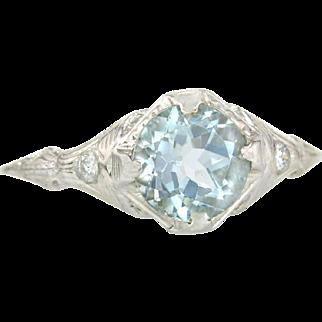 Antique 1.66ct Aquamarine & Diamond 18K White Gold Art Deco Engagement Ring 2g