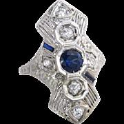 Antique Vintage Estate 18K White Gold Flowers 1.11ct Genuine Diamond & Blue Sapphire Art Deco Engagement Ring