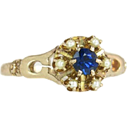 Antique Vintage Estate 14K Yellow Gold .35ct Genuine Blue Sapphire & Seed Pearl Victorian Ring