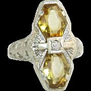 Vintage Estate 14K White Gold Flowers 3.00ct Genuine Diamond & Citrine Art Deco Ring