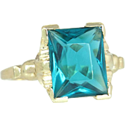 Antique Vintage Estate 10k Yellow Gold 2.80ct Blue Green Tourmaline Art Deco Ring