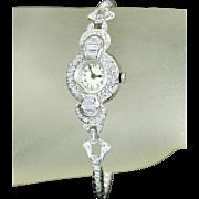Vintage Ladies Wrist Watch Platinum 2.00cttw Genuine Diamond Quartz Movement 13.4g