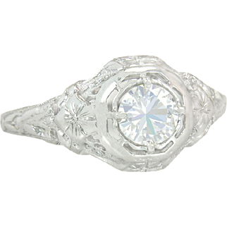 Antique EGL Certified .47ct Diamond Flowers 18K White Gold Engagement Ring 2.8g