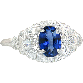 Antique 1.11ct Genuine Diamond & Blue Sapphire 14K Gold Art Deco Engagement Ring