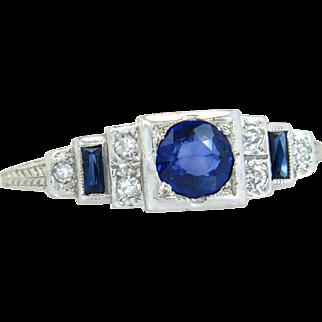 Antique Barth 18k Gold .54ct Genuine Diamond & Sapphire Art Deco Engagement Ring