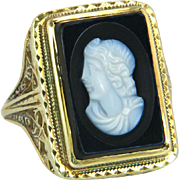 Vintage 14k Yellow Gold Black & White Hand Carved Cameo Art Deco Ring 5.1g