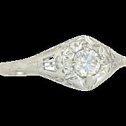 Vintage Estate .25ct Genuine Diamond 14K White Gold Art Deco Engagement Ring